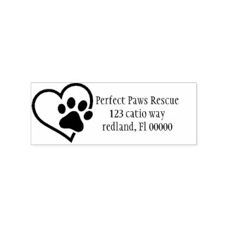 heart Paw Address label 2 Rubber Stamp