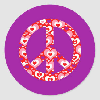 Heart Peace Sign Round Sticker