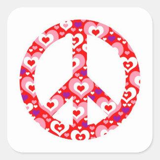 Heart Peace Sign Square Sticker