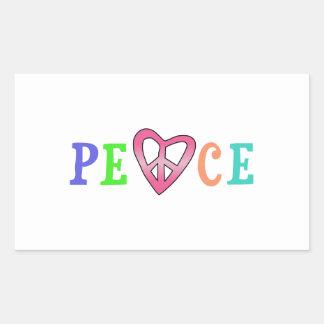 HEART PEACE RECTANGULAR STICKER