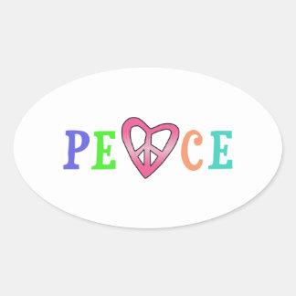 HEART PEACE OVAL STICKER