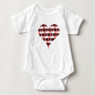 Heart Piano Baby Bodysuit