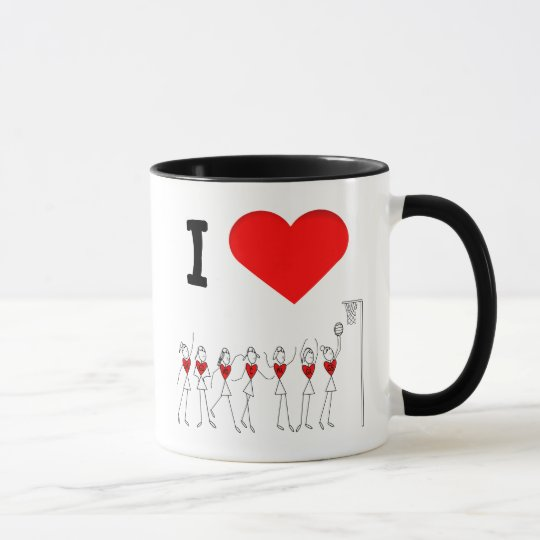 Heart Player Positions I Love Netball Mug