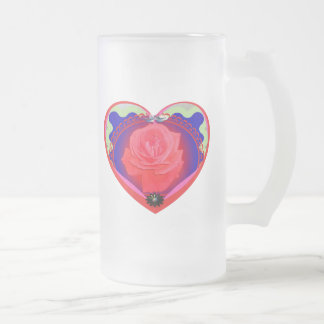 heart red rose frosted glass mug