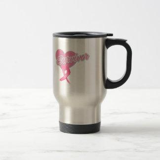 Heart Ribbon - Breast Cancer Survivor Coffee Mugs