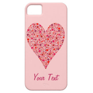 Heart Shape Crimson Polka Dots on Pink Barely There iPhone 5 Case