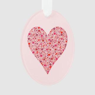 Heart Shape Crimson Polka Dots on Pink Ornament