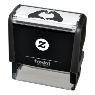 Heart Shape Hands Illustration with black hearts Self-inking Stamp
