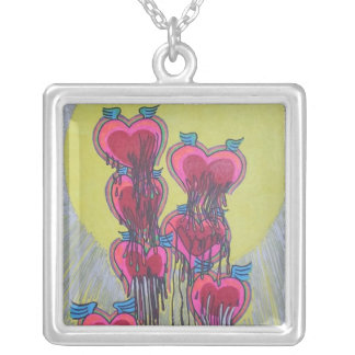 heart shape melted crayons custom necklace