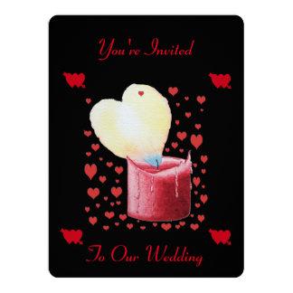 heart shaped buring flame romantic black wedding card