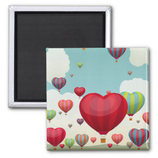 Heart-Shaped Hot Air Balloons Square Magnet