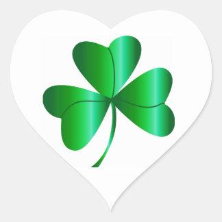 Heart-shaped Sticker Shamrock Design