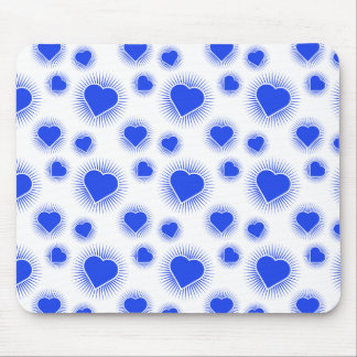 Heart Starburst 3 Blue Mouse Pads