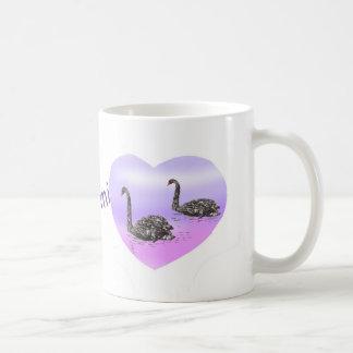 Heart Swans pink purple add name Mug