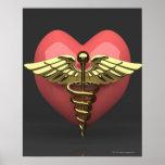 Heart symbol with medical symbol (caduceus)