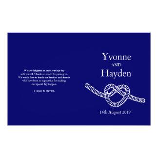 Heart tie the knot dark blue wedding programs personalized flyer