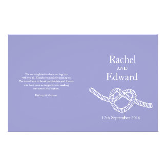 Heart tie the knot purple wedding programs flyer