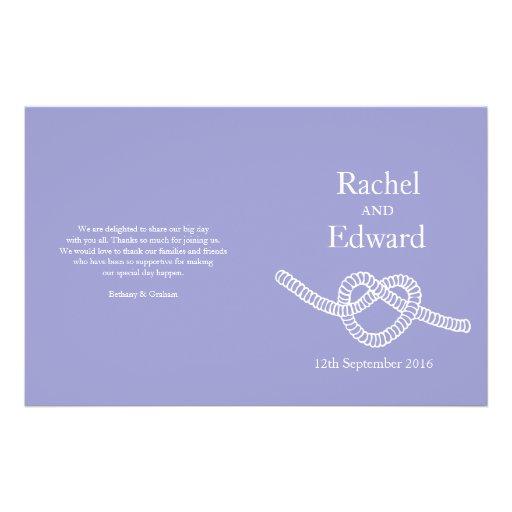 Heart tie the knot purple wedding programs full color flyer
