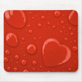 heart water drop on red background mousepad