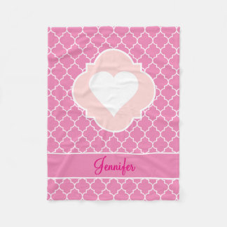Heart White Silhouette Pink Quatrefoil with Name Fleece Blanket