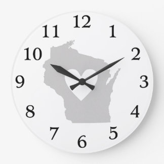 Heart Wisconsin state silhouette Large Clock