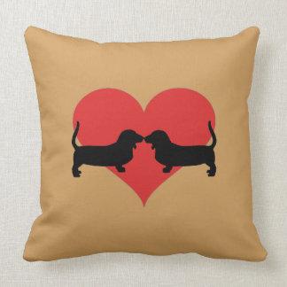 Heart with basset hounds throw pillow