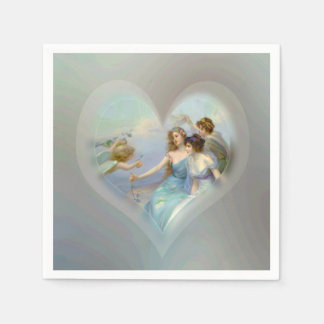 Heart with Cupid and Ladies Disposable Serviette