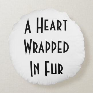 Heart Wrapped In Fur - Briard Pillow Round Cushion