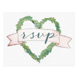 Heart Wreath Pink Banner Wedding RSVP Postcard