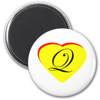 Heart Yellow Red Q Wedding Invitation The MUSEUM Z Magnets