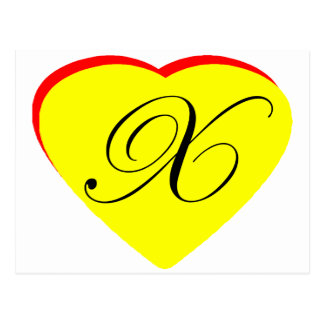 Heart Yellow Red X Wedding Invitation The MUSEUM Z Post Card