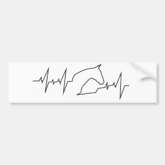 Heartbeat Horse Head Bumper Sticker