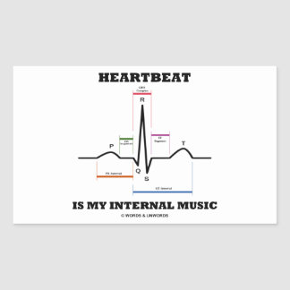 Heartbeat Is My Internal Music (ECG/EKG) Rectangular Sticker