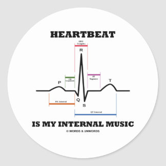 Heartbeat Is My Internal Music (ECG/EKG) Round Sticker