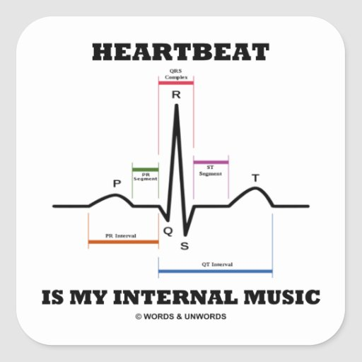Heartbeat Is My Internal Music (ECG/EKG) Square Stickers