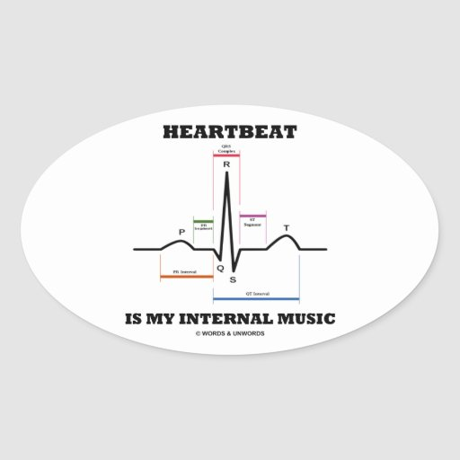 Heartbeat Is My Internal Music (ECG/EKG) Oval Sticker