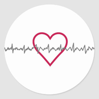 Heartbeat Round Sticker