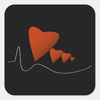 Heartbeats Square Stickers