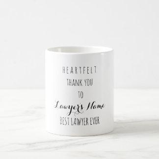 Heartfelt Thank You Best Lawyer Ever Typography Coffee Mug