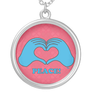 HeartMark Heart Hands Peace Round Pendant Necklace