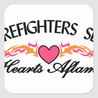 Hearts Aflame Square Sticker