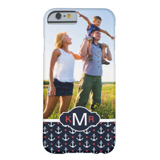Hearts & Anchors Pattern| Your Photo & Monogram Barely There iPhone 6 Case