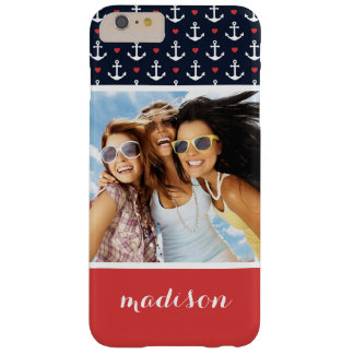 Hearts And Anchors Pattern | Your Photo & Name Barely There iPhone 6 Plus Case