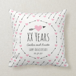 Hearts and Arrows Personalized Wedding Anniversary Cushion