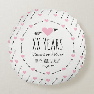 Hearts and Arrows Personalized Wedding Anniversary Round Cushion