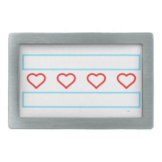 Hearts and Stripes Forever - open hearts flag Belt Buckle