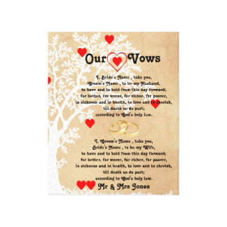 Hearts and Tree Wedding Vows on Canvas