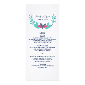 Hearts and Vines Wedding Menu Card 10 Cm X 24 Cm Invitation Card