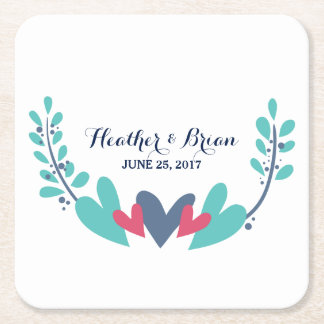 Hearts and Vines Wedding Paper Coasters