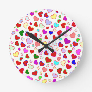 Hearts Colorful Multi on White Round Wall Clock